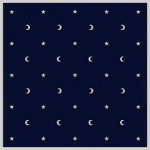 Tapis de cartes bleu - Lunes et étoiles
